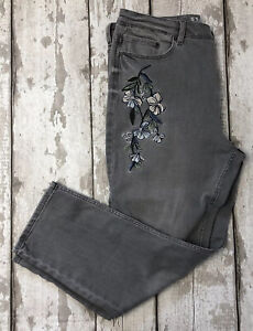 M&S Size 14 Light Grey Floral Embroidered Cropped Straight Jeans Ladies Spring