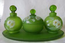 Westmoreland Dresser Vanity Set Perfume Bottle (s), Puff Box, Tray Green