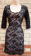 JANE NORMAN BLACK FLORAL LACE NUDE SEQUIN BODYCON PENCIL PARTY XMAS DRESS S 8 10
