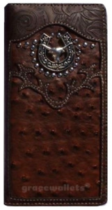 LongHorn Men Wallet Western Bifold Check Book Style W069-6 Brown