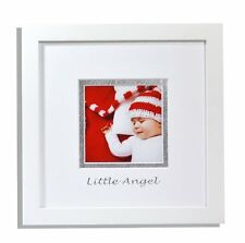 8x8-inch Photo Wood Frame with White/Silver Double Mat for 4x4 Pictures, White