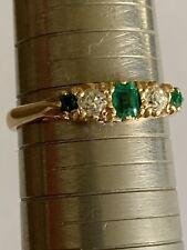 Fine Vintage 18ct Gold Emerald & Diamond Half Hoop Carved Ring