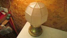 Antique Brass Porch Light Fixture & Large Faceted Globe