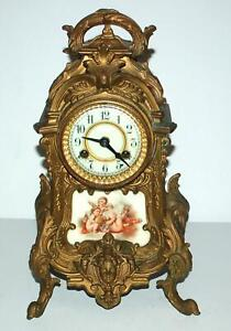 Antique WATERBURY Bronze Ornate Cherubs Mantle Parlor Clock