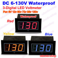 Waterproof DC 6V-130V LED Voltage Meter Voltmeter 12V 24V 36V 48V Car Battery