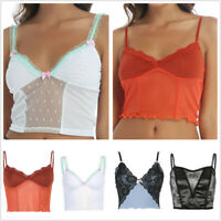 Womens Tops Retro Girls Vest T-shirt Crop Top Tank Sleeveless Patchwork Cami Top