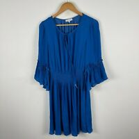 Wayne Cooper Womens Dress 10 Blue Trumpet Long Sleeve Round Neck Pleated