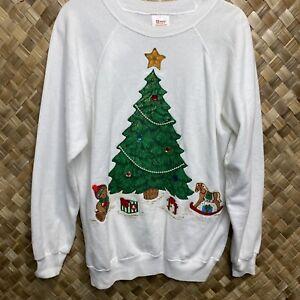 Vintage Hanes Sport XL White Christmas Tree Handmade Puff Sweater Sweatshirt