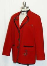 "WOOL Walk JACKET Sweater Women German Austria RED Hunting BIRDS Coat B45"" 14 L"