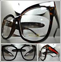 1225aa8669 OVERSIZE VINTAGE RETRO CAT EYE Style Clear Lens EYE GLASSES Thick Tortoise  Frame