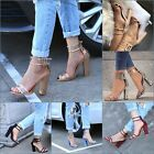 Ladies Women Ankle Strap Chunky Block High Heels Sandals Dress Shoes Transparent