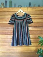 Vintage 1970s Knitted Tunic in Multicolour Stripe Small Hippie Bohemian