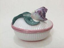 "Fitz & Floyd 1991 Iris Flower Oval Trinket Box, Made in Taiwan, 6"" x 5"" x 5"" H"
