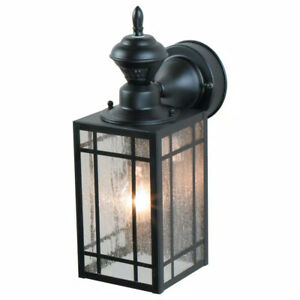 Heath Zenith 1-Light Black Motion Activated Outdoor Wall Lantern Sconce