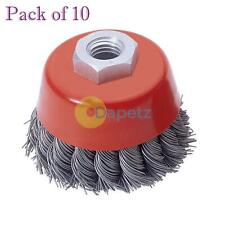 """Twist Knot Wire Wheel Cup Brush 3"""" M14 For 4 1/2"""" 115mm 9"""" Angle Grinder 10 Pack"""
