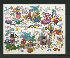 """G015 Bélize 1985 Disney """" It's Un Petit Monde """" Feuille MNH"""