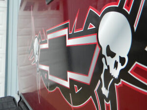 Chevy Tribal Bowtie w/ skulls Back Window tailgate decal sticker - PICK COLOR