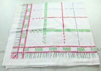 """WEAR Vintage Cotton Tablecloth 51"""" x 44"""" Plaid MCM Farmhouse 50s 60s Cottage"""