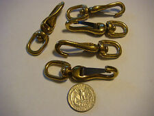 "5 - Solid Brass Snap NEW Swivel Eye 2 1/2"" Flag Boat Dog Leash Lot"