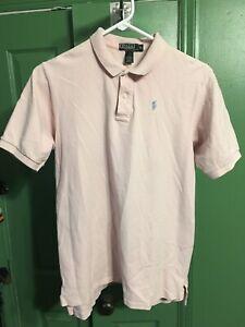 Vintage Polo Ralph Lauren Pink Short Sleeve Shirt Made In USA Boys Size XL