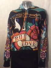 Rare Ed Hardy Black Hoodie Ankh Symbol Eternal Life Purchased New MED Excellent!