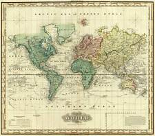 THE WORLD, Vintage Map Reproduction Rolled Premium CANVAS PRINT 28x24 in.