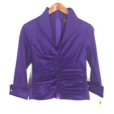 Tadashi Petite Collection Purple Ruched 3/4 Sleeve Evening Top Women's 12P New