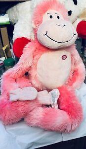 "Toys R Us Dreamy Pink Hanging Monkey Hugging Hug Plush Stuffed 29"" Sound WORKS"