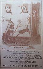 Antigüedad Raro 1880s Chicago Publicidad Impresión Carta Folk Arte Bicycle Juego