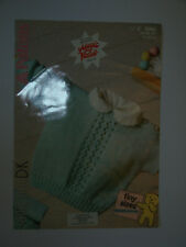 "Knitting Pattern Patons Fairytale Prem Babies Lace Panel Sweater 14-22"" - 8360"