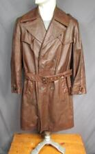VINTAGE 1970s Grais pelle marrone cappotto trench giacca lunga