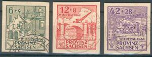 Alliierte Besetzung, Provinz Sachsen Mi.-Nr.87-89B o (MICHEL EURO 440,00) feinst