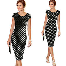 Vintage Womens Bandage Bodycon Dot Evening Party Pencil Dress Plus Size 6-20