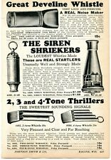 1927 small Print Ad of Great Develine Whistle, Siren Shriekers, Tone Thrillers