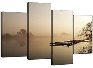 Large Brown Beige Sepia Landscape Canvas Wall Art 130cm Pictures 4117