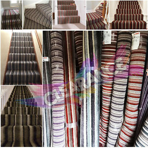 Clearance Stripe Stairs Carpets Multi Colours 7mm-15mm Thick Landing Room Carpet