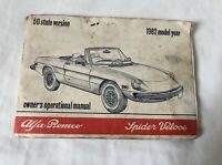 1982 Alfa Romeo Spider Veloce Owners Manual with Electrical Diagram Foldout