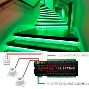 12V Power 36 Channel Dual Motion Sensor controller for DIY Stair ladder light
