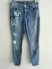 Seven For All Mankind Light Blue The Ankle Skinny Floral Painted Jeans 26
