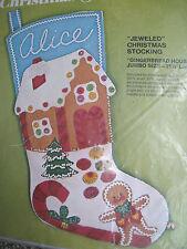 "Christmas Bucilla Felt Applique Stocking Kit,GINGERBREAD HOUSE,Size 21.5"",#2098"
