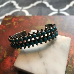 NAVAJO Sterling Silver TURQUOISE SAMPLER Double Row Cluster Cuff BRACELET