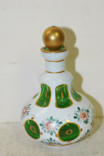 Glass scent bottle, white cut to green,ground-polished bottom, mid 19th cent.