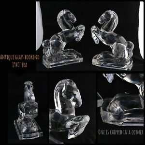 A Pair of vintage glass horse bookends