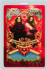 ROB ZOMBIE OZZY OSBOURNE 2001 MERRY MAYHEM TOUR LAMINATED BACKSTAGE PASS