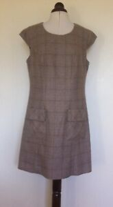 Next Ladies Wool Mix Light Fawn Brown Check Shift Dress Size 16