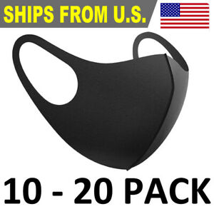 10 20 Pack Face Mask Black Reusable Breathable Thin Mask Stretch Fabric