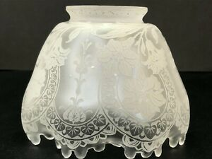 Vintage/Antique Clear Etched Glass Lily Flower Design Ruffle Edge Lamp Shade