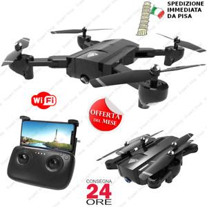 DRONE WI FI RC QUADRICOTTERO  2 CAMERE HD RICHIUDIBILE DA VIAGGIO 16 20 min volo