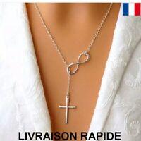 Collier Pendentif Croix Infinity Argenté Bijoux Femme Cadeau Soirée Anniversaire