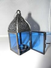 MOROCCAN  COLOURED GLASS LANTERNS TEA LIGHT HOLDER HANGING GARDEN PATIO BBQ